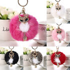 Fluffy Rabbit Fur Crystal Fox Pompom Ball Car Pendant Bag Charm Key Chain Ring