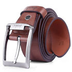 Fashion New Mens Leather Single Prong Belt Business Casual Dress Metal Buckle