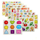 Puzzle Baby Wood Panels Toys  Educational Block Alphabet Infant Grasping Number