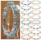 6*8mm white pink green blue black opal 18 KGP wedding party bracelet 7.5 inch