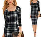 New Womens Casual 3/4 Sleeve Office Business Party Bodycon Pencil Career Dress