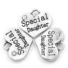 4 5 10 20 PCS SILVER TONE RHINESTONE SPECIAL DAUGHTER HEART CHARMS WEDDING No27