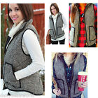 Women Fashion Crew Excursion Quilted Puffer Vest in Herringbone Winter Vest