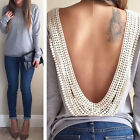 Fashion Women Backless Long Sleeve Shirt Casual Blouse Tops Shirt Clothing Blusa