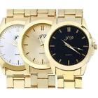 Luxury Men's Military Gold Classic Analog Quartz Stainless Steel Wrist Watch image
