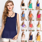 Women's New Plain Sleeveless Ladies Chiffon Long Strappy Camisole Vest Tank Top