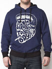 IRON FIST MEN'S ZIP UP HOODED SWEATSHIRT STRAIGHT TO HELL HOODY TOP NAVY (R11B)