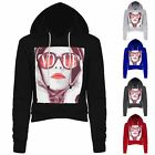 Womens Ladies Celeb Vogue Red Lips Girl Print Fleece Cropped Hooded Sweatshirts