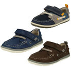 Clarks Boys Navy Combi Leather Shoes Softly Boat