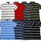 Tommy Hilfiger Mens Polo Shirt Classic Fit Striped Black White Blue Casual V143