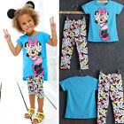 NEW 2-7Y Baby Kids Girl Short Outfits Minnie Tops + Pants Leggings Set Clothes