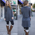 Women Spring Loose Pullover Long Sleeve Cotton Skirt T-Shirt Blouse Solid Dress