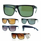 Mens Flat Top Mobster Large Rectangular Horn Rim Plastic Sunglasses