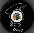 """ANDREW SHAW """"2 X SC CHAMPS"""" AUTOGRAPHED-SIGNED CHICAGO BLACKHAWKS LOGO PUCK 3"""