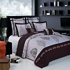 Brown,Pink and Grey Embroidered Contemporary Design 100% Cotton Duvet Set