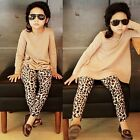 Toddler Kids Baby Girls Clothes T-shirt Tops + Leopard Pants 2PCS Outfits Set