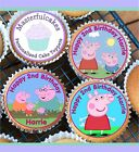 24 PERSONALISED PEPPA PIG DESIGN CUPCAKE TOPPER RICE, WAFER,ICING  PRECUT WAFER