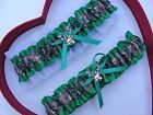 NEW Gorgeous Mossy Oak Emerald White Wedding Garter Prom Camo Camouflage
