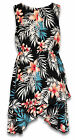 Girls Floral Leaf Print Asymetric Hem Sleeveless Fashion Dress 8 to 12 Years