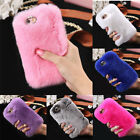 Women's Luxury Furry Rabbit Fur Case Cover Skin Shell For Apple iPhone 6 6S Plus