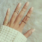 Womens 5Pcs/Set Urban Rings Crystal Mid Ring Above Knuckle stacking Band Midi