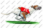 Greyhound Brown White Racing Dog Double Suspension Rotary Gallop Decal Sticker