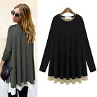 New Fashion Womens Cotton Long Sleeve Tops Peplum Casual T-shirt Loose Blouse