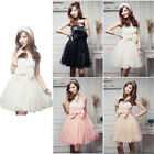 Sweet Womens Lace Bowknot Bubble Skirt Strapless Dinner Party Ball Evening Dress