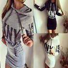 Women Letter Print Long Sleeve Pocket Hoodies Dress Casual Hooded Bodycon Jumper