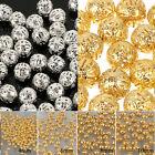 Crafts Round Filigree Spacer Beads Gold/Silver Plated For Handmade 4/6/8/10mm