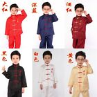 Chinese Boy's silk Embroidery Kung Fu Shirt Pants Suit blue SZ 2 4 6 8 10 12 14