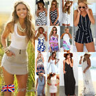 UK NEW Womens Holiday Mini Playsuit Ladies Jumpsuit Summer Beach Dress Size 6-20