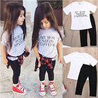 Hot Newborn Infant Kids Baby Girls White T-shirt +Pant Outfits Clothes Set quote