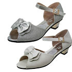Girls Ivory Off White Glitter Sparkle Wedding Communion Party Shoes Sandals Heel
