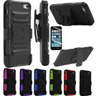 For Apple iPhone 5 SE 5S Heavy Rugged Armor Hard Case Cover + Belt Clip Holster