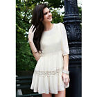 2016 Summer Fashion New Chiffon Round Collar Lace Half Sleeves Dress Creamy