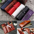 1xWomen PU Leather Makeup Brush Bag Case Pen Pencil Pouch Stationery Box Purse