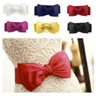 Lady Women Sweet Bowknot Elastic Bow Wide Stretch Buckle Waistband Waist Belt