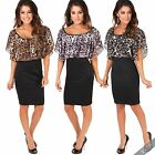 Women Sexy Leopard Cape Pencil Dress Batwing High Waist Oversize Party Plus Size