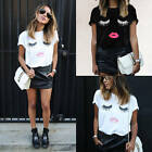 Fashion Womens Eyelash Lips Printed Loose Short Sleeve Casual T-Shirt Top Blouse