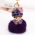 New chhichi girl fur ball key chains fashion doll Purse charm chain Rhinestone
