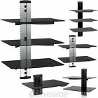 2 & 3 Floating Glass Shelves For DVD SKY BOX TV Wall Mount Bracket Stand