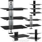 2 & 3 Floating Glass Shelves For DVD SKY BOX TV Wall Mount Bracket Stand New