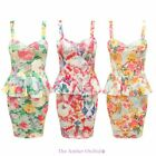 WOMENS LADIES PEPLUM GRAPHIC FLORAL PRINT STRAPPY COCKTAIL FRILL BODYCON DRESS