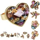Mix Drusy Geode Gemstone Adjustable Cocktail Finger Ring Heart/Oval/Star/Clover