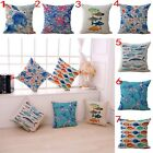 Sea fish print Cotton linen car Cushion Cover Square Pillow Cases Home Bedroom
