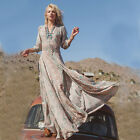 UK New Womens Sexy Boho Summer Casual Floral Evening Party Beach Long Maxi Dress