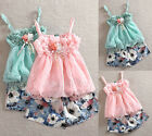 Baby Girls Kids Lace Floral T-Shirt Tops+ Short Pants Outfits Beachwear Sets