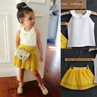 Kid Baby Girl Toddlers Sleeveless Summer T-shirt Top+Mini Dress Outfit Sets 2-7Y