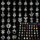 silver plated brass locket cage pendant ring bell 10mm gemstone beads inside